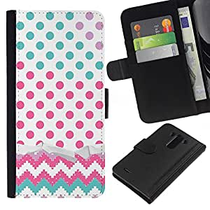All Phone Most Case / Oferta Especial Cáscara Funda de cuero Monedero Cubierta de proteccion Caso / Wallet Case for LG G3 // Dot Chevron Teal Pink