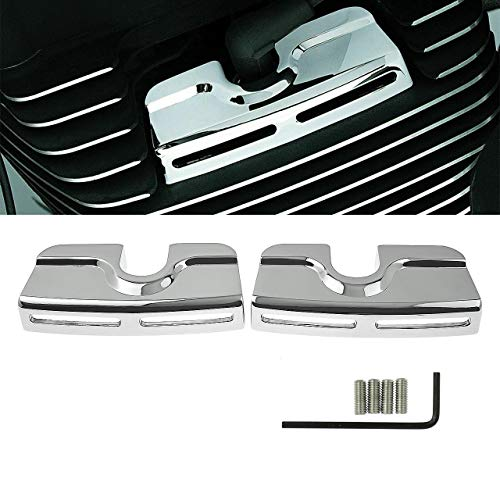 Rebacker Left&Right Chrome Spark Plug Head Bolt Covers for Harley Dyna Softail Touring Twin Cam 1999-2017