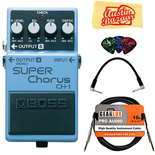 Boss CH-1 Super Chorus Bundle with Instrument Cable, Patch Cable, Picks, and Austin Bazaar Polishing Cloth by BOSS