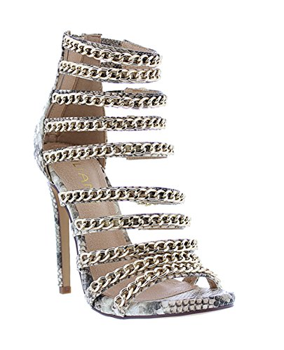 09947735bfe Liliana Snake Skin Caged Strappy Chain Accent Stiletto Heel Jesse229(Snake  7) - Buy Online in Oman.