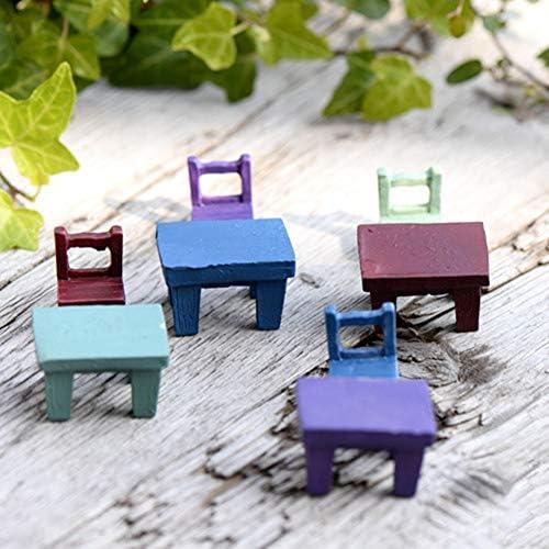 2Pcs 2.6Cm  White Park Bench Dollhouse Miniature Landscape Ornaments Model w//