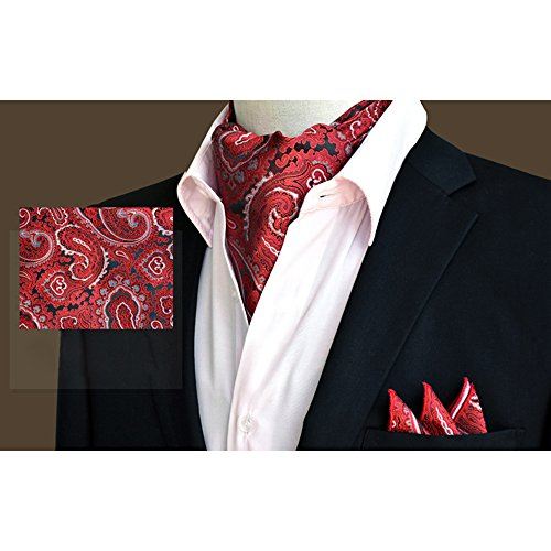 YCHENG Handkerchief Silk Xlj Tie Set Floral 21 Paisley Business Men's Wedding Ascot Red Elegant wXxnFwtg