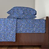 Roostery D20 4pc Sheet Set Gamer Dice Blue by Spacefem Queen Sheet Set made with