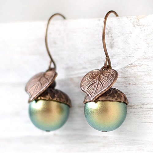 Acorn Drop Earrings (Large Green Simulated Pearl Acorn Earrings)