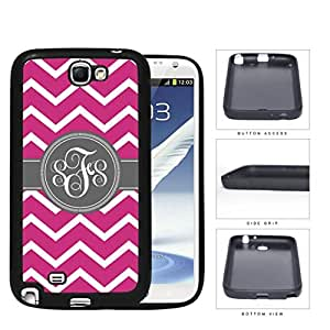 Pink And White Chevron With Gray Centered Monogram (Custom Initials) Rubber Silicone TPU Cell Phone Case Samsung Galaxy Note 2 II N7100