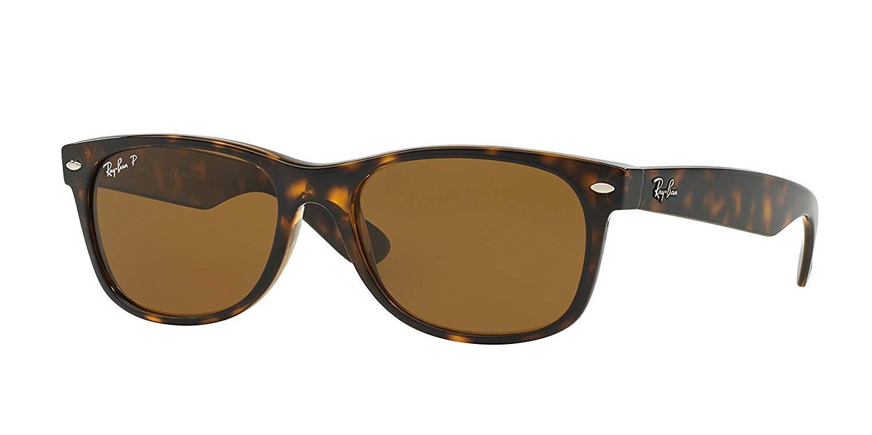 Ray-Ban New Wayfarer Sunglasses (RB2132) Tortoise/Crystal Brown Polarized Lenses - Polarized - 55mm