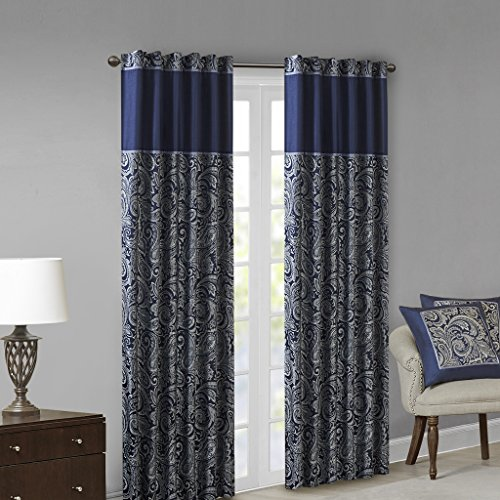 Madison Park Aubrey Jacquard Room-Darkening Window Curtain 2 Blackout Panel Pair for Bedroom and Dormitory, 50x84, Navy (Drapes Silver Blue)