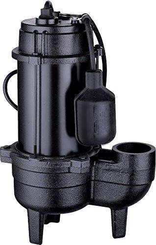 Acquaer SEC050T Acquaer 1/2 hp Cast Iron Sewage Pump, Black