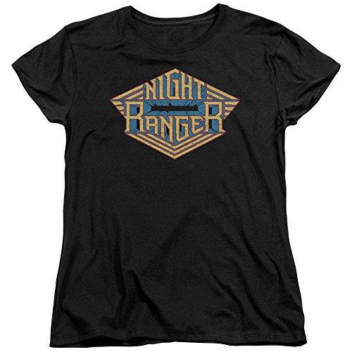 Night Ranger - Classic Logo - Women's Cap Sleeve T-Shirt - Small (T-shirt Night Cap Womens Sleeve)