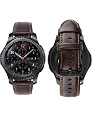 Genuine Handmade Leather Band with Black Buckle for Samsung Gear S3 Frontier and Classic Smart Watch Elite Strap - Coffee Dark Brown