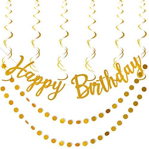 Artistrend Happy Birthday Banner Gold Decorations Set with Garland and Swirls (Gold Birthday)