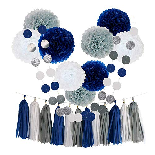 Tissue Paper Flowers Pom Poms Party Decorations Navy Blue White Grey Tassel Garland for Wedding Bridal Shower Graduation Bachelorette Celebrate First Birthday Graduate Supplies (Navy Blue-White-Grey)