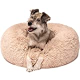 Friends Forever Premium Donut Bolster Orthopedic Dog Bed for Puppy to Medium Dogs & Cat, Medium Tan For Sale