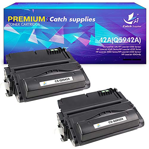 Catch Supplies Compatible Toner Cartridge Replacement for HP Q5942A 42A Q1338A 38A 42X HP Laserjet 4200 4200n 4240 4250 4250n 4250tn 4250dtn 4200tn 4300 4300n 4350dtn 4345mfp Printer Ink(Black,2Pack)