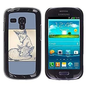 LECELL--Funda protectora / Cubierta / Piel For Samsung Galaxy S3 MINI 8190 -- 2 Zorros --