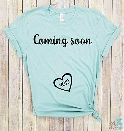 a7e3fbeb6 Amazon.com: Coming Soon 2019, Pregnancy Shirt, Mom to Be, Pregnancy Reveal, New  Mom Shirt, Pregnancy Announcement Shirt, Est 2019: Handmade