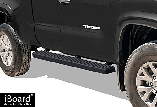 (iBoard (Black Powder Coated 4 inches) Running Boards | Nerf Bars | Side Steps | Step Rails for 2005-2019 Toyota Tacoma Access Cab Pickup)