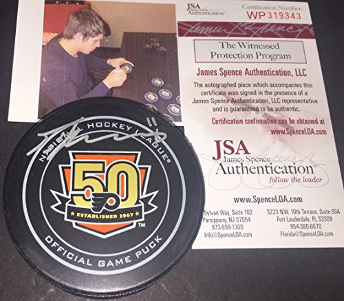 Travis Konecny Philadelphia Flyers Autographed Signed OFFICIAL 50th ANNIVERSARY GAME Puck JSA Witness COA