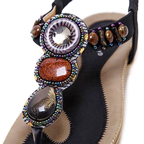 Sandali Decorare Modello Nero Zoerea Perline Cuoio Stile Con Forma Estate Bassi Pu Donna Infradito Bohemia 2 A Fiore Da Di Elegante pRqxdqO