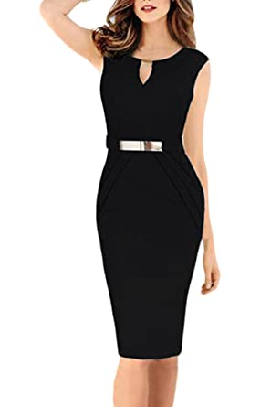 8efc699272 Nimpansa Women Formal Deep V-Neck Bleted Mini Bodycon Pencil Work Dress  Black XS(