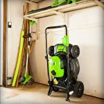 Greenworks g-max 40v 20-inch cordless 3-in-1 lawn mower with smart cut technology, (1) 4ah battery and charger included mo40l410 29 includes (1) max capacity 4 ah - 40v lithium battery , cutting heights - 5 position durable 20'' steel deck lets you mulch, bag, or side discharge allowing you to maintain your yard the way you want it. This lawn mower is not self-propelled innovative smart cut technology automatically increases the speed of the blade when more power is needed