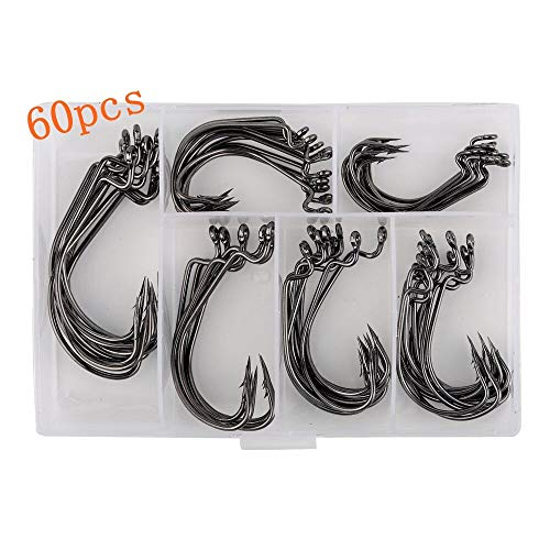 Bright starl 60pcs Offset Worm Hook High Carbon Steel Wide Gap Bait Jig Fish Hooks with Plastic Box #1-5/0 - Fish Hook Bait