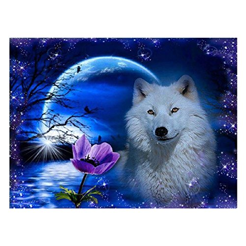eZAKKA DIY 5D Diamond Painting, Full Square Drill Paintings Pictures Arts Craft for Home Wall Decor, Family Activities and Emotional Adjustment (White Wolf, 15x12inches) by eZAKKA