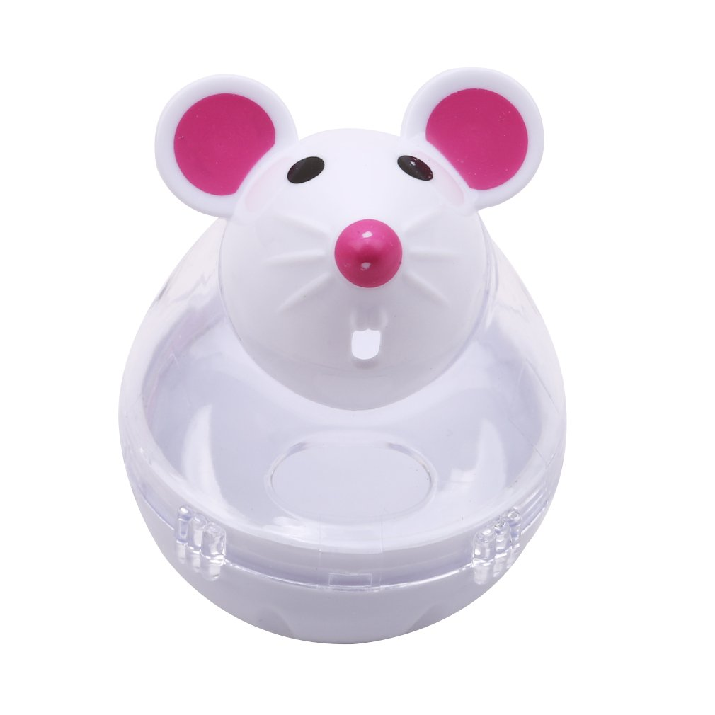Dolland Mouse Tumbler Leakage Ball Pet Toy, Interactive Cat Toy, Cat Toy Mouse Food Dispenser For Kitty And Kitten,White,One Size