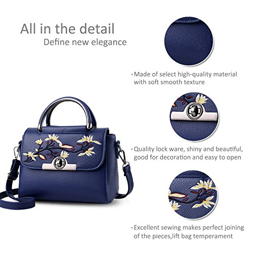 Purse Handle Top Nicole Bag PU amp;Doris Small Dark Bag Shoulder Girls Bag Crossbody Tote Blue Dark Women Handbags Leather Blue Otq1nrgqw