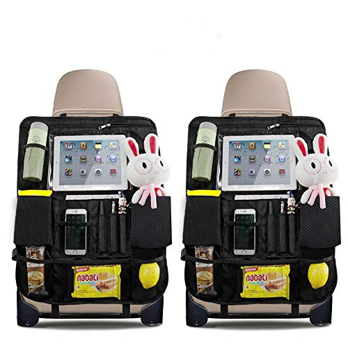 "QUEES Backseat Car Organizer Kick Mats Car Seat Back Protectors with Clear 10"" Tablet Holder + 14 Storage Pockets for Kids Toy Bottle Drink Vehicles Travel 2PCS"