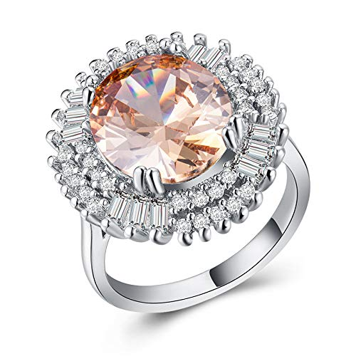 MGZDH Womens Ring Exaggerated Creative Jewelry Plated 925 Silver and Zircon Ring B1132 9