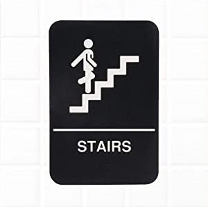 Stairs Sign with Braille - Black and White, 9 x 6-inches ADA Compliant Stairs Sign for Door/Wall by Tezzorio