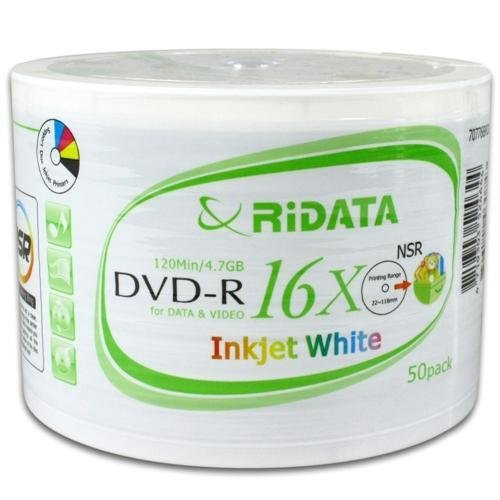 Ridata 16X DVD-R White Inkjet Hub Printable 100 Pack in Shrinkwrap