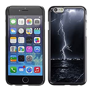 Qstar Arte & diseño plástico duro Fundas Cover Cubre Hard Case Cover para Apple iPhone 6(4.7 inches) ( Thunder Lightning Storm Sky Black Night)