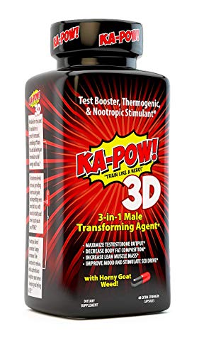 3-in-1 Fat Burner, Testosterone Booster, NOOTROPIC Stimulant – KA-POW!™ 3D Fat Burning Pills – Ultimate Thermogenic Fat Burners for Men! A Male Game Changer for Fat Loss, Muscle Gain, and Clear Focus