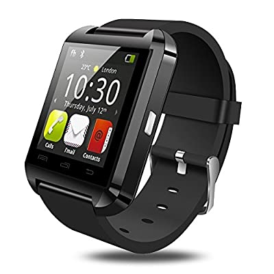New U8 Bluetooth Smart Watch WristWatch Phone with Camera Touch Screen Long Life Battery for Android OS and IOS Smartphone Samsung Smartphone Super Standby Over 7 Days (Black)