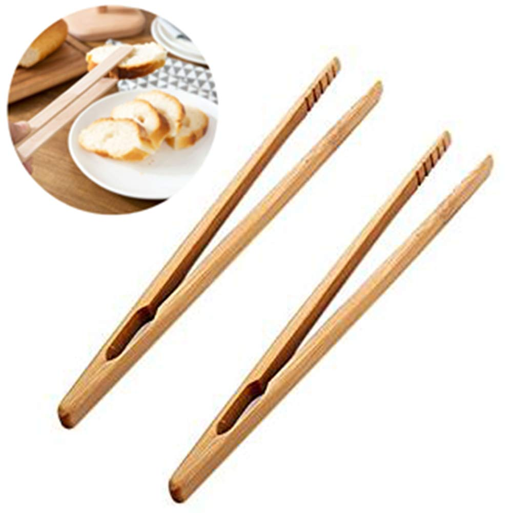 2X Oyfel Pinza de bamb/ú Madera naturales Pinza de pan pinzas alicates Pinzas de cocina pinzas para servir Ensalada pinzas de alimentos