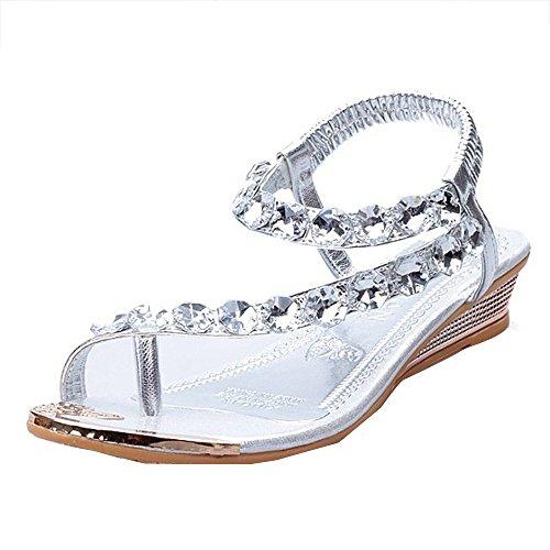 Appartements Argent Strass Femme Sandales Chaussures Compensée forme Plate Sandales D'été Bovake 4gXqxf