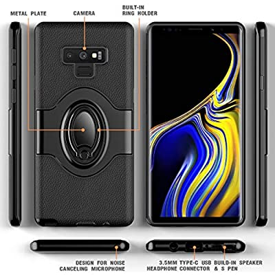 Samsung Galaxy Note 9 Case - eSamcore Ring Holder Kickstand Cases + Dashboard Magnetic Phone Car Mount [Black]