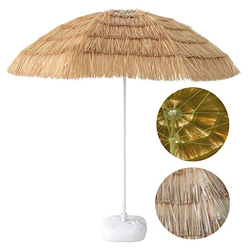 - PD Master 6.5ft Large Tropical Palapa Thatched Patio Tiki Umbrella Hawaiian Hula Beach Umbrella Outdoor Sand Umbrella with 8 Ribs, Natural Color