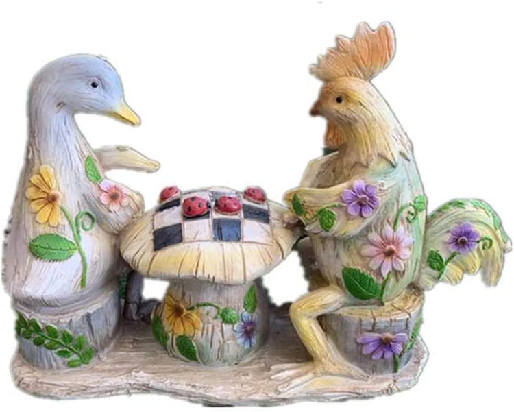 LIUSHI Garden Decoration Sculpture, Animal Statue Rooster Duck Model Resin Retro Painted Outdoor Creative Decoration