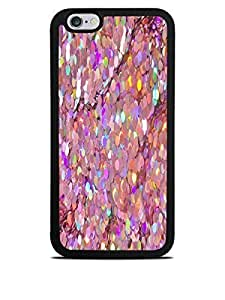 Holographic Look Pink Sequins Print Design Black Silicone Case for iphone 5 5s