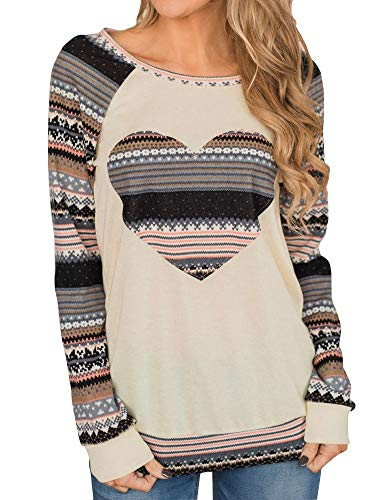Womens Raglan Baseball Shirts Cute Love Heart Print Long Sleeve Tunic Tops Beige