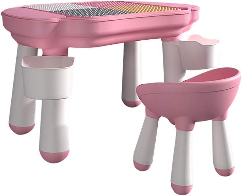 HAPPYMATY Kinderspieltisch mit Bauplatte dopplerseitiger Spieltisch Sitzgruppe Kinder f/ür drinnen und drau/ßen Maltisch Kindertisch mit Stuhl