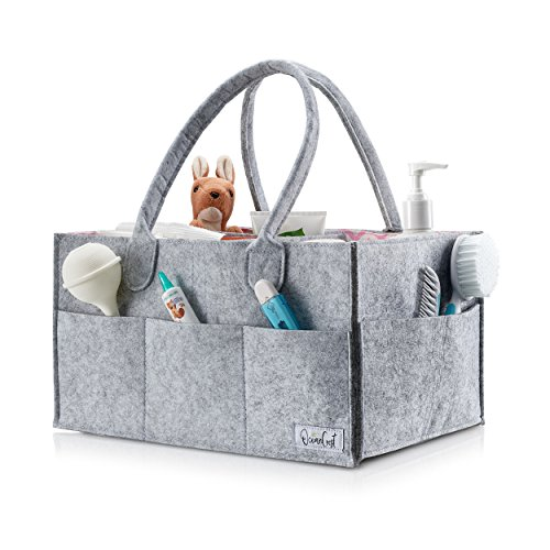 2018 NEW Premium Diaper Caddy By Ocean Crest (Gray & Pink) | Nursery Storage Bin & Car Organizer | Extra Soft Felt & Eco-Friendly | 13 X 9 X 7 inches