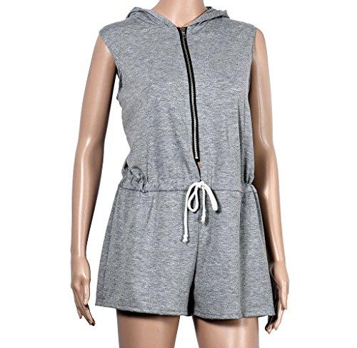 Ularma Moda Cierre de cremallera sin mangas con capucha para mujer verano mono short Pant gris