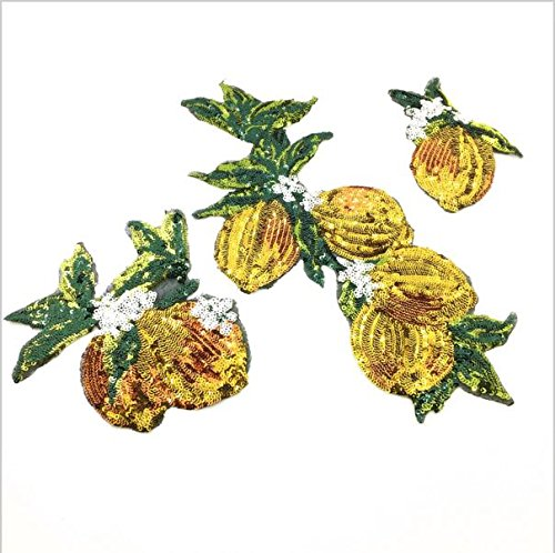 Xuuaiq Set of 3 Sew On Sequin Beaded Lemon Patch Fruits Applique Plant Patches for Dress Appliques Parches Sewing Accessories ()