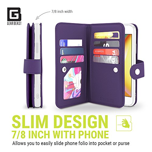 Gear Beast iPhone 8 Plus/7 Plus Wallet Case, Flip Cover Dual Folio Slim PU Leather Case 7 Slot Card Holder Including ID Holder Plus Cash Pockets For Men and Women Bonus Screen Protector - Purple by Gear Beast (Image #3)