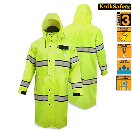 KwikSafety Long Yellow Trench Coat | Reflective Raincoat ...