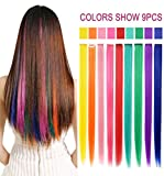 Rhyme 20 '' 9 Pieces Party Highlights Colored Hair Extensions Clip In/On For Girls and Dolls Wig Pieces for Kids Girls Hair Accessories (Rainbow Color)
